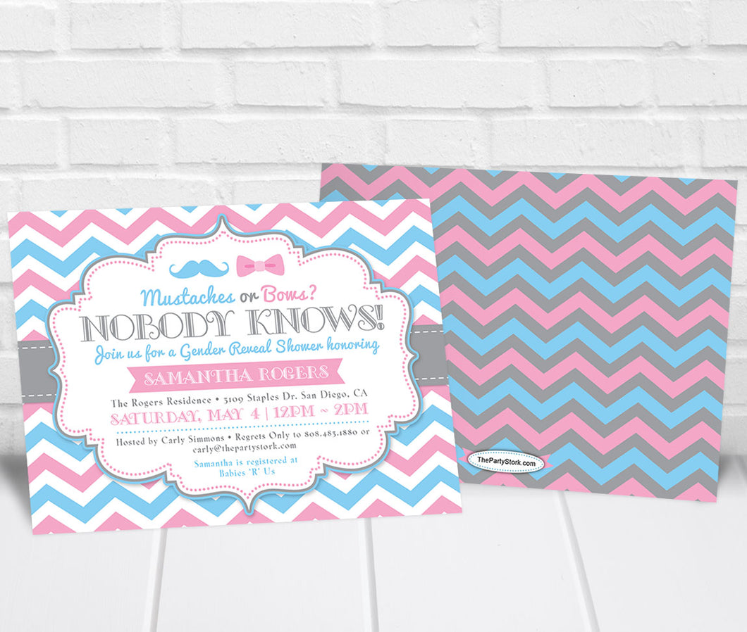 Mustaches or Bows Gender Reveal Party Invitation