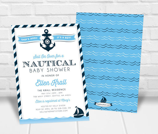 Nautical Baby Shower Invitation - The Party Stork