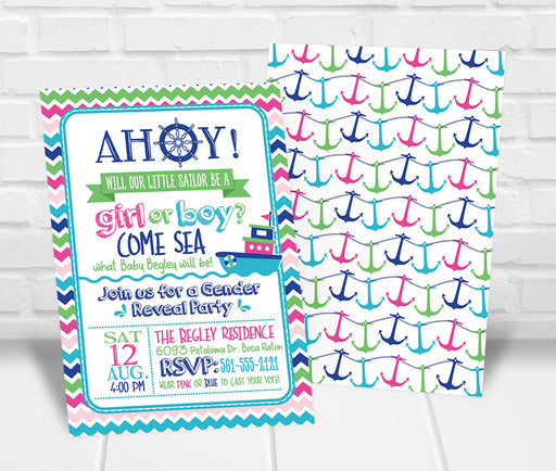 Nautical Gender Reveal Party Invitation - The Party Stork