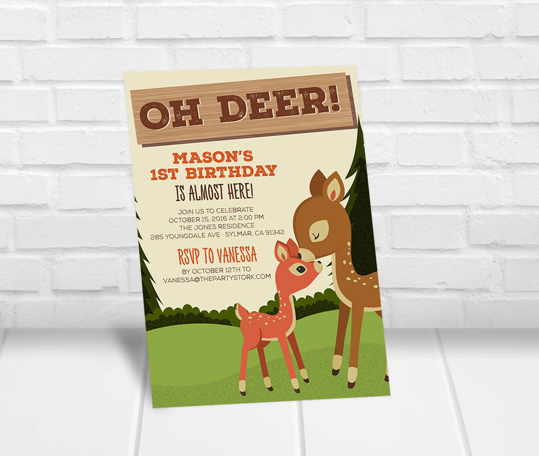 Oh Deer Hunting Birthday Invitation