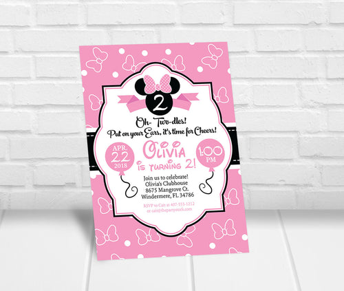 Oh Twodles Invitation Pink