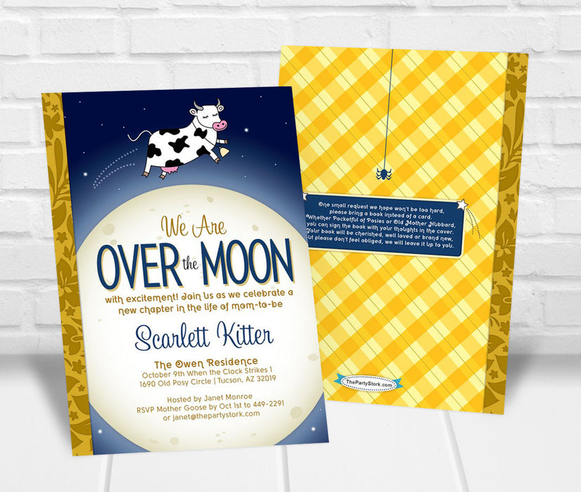 Over the Moon Nursery Rhyme Baby Shower Invitation - The Party Stork