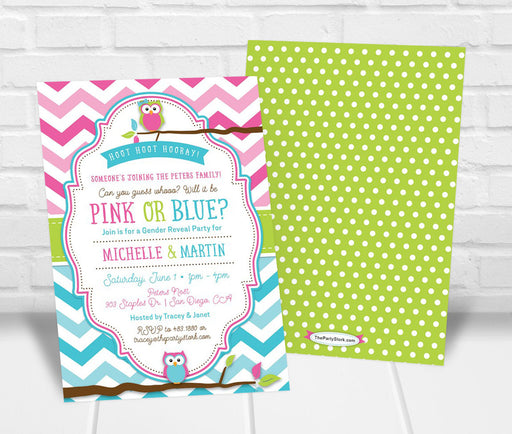 Owl Gender Reveal Invitation - The Party Stork