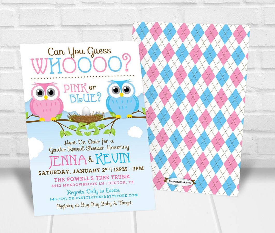 Owl Gender Reveal Party Invitation