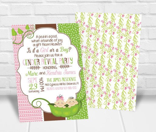 Pea in a Pod Gender Reveal Party Invitation - The Party Stork