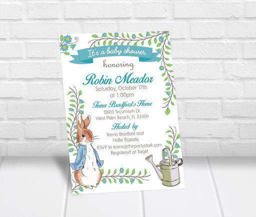 Peter Rabbit Baby Shower Invitation - The Party Stork