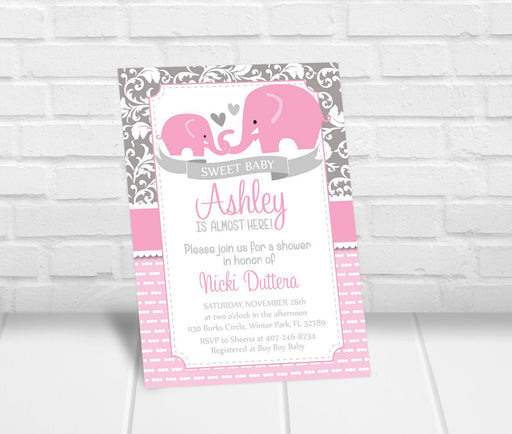 Pink Elephant Baby Shower Invitation - The Party Stork
