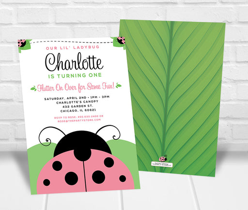 Pink Ladybug Party Invitation - The Party Stork