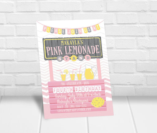 Pink Lemonade Stand Birthday Party Invitation - The Party Stork