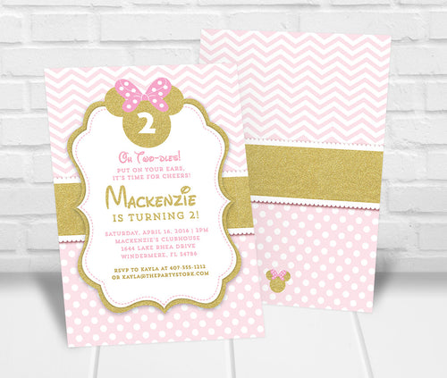 Pink and Gold Minnie Inspired Birthday Invitation