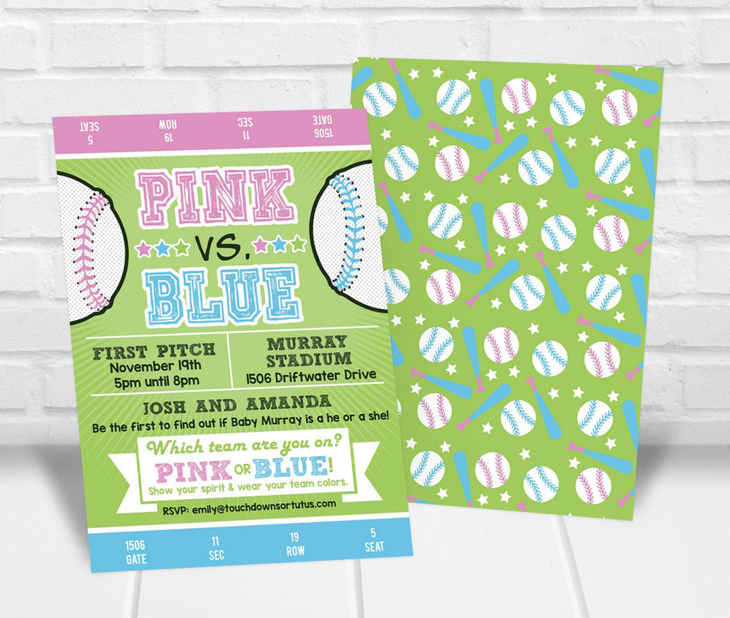 Pink vs. Blue Baseball Gender Reveal Party Invitation