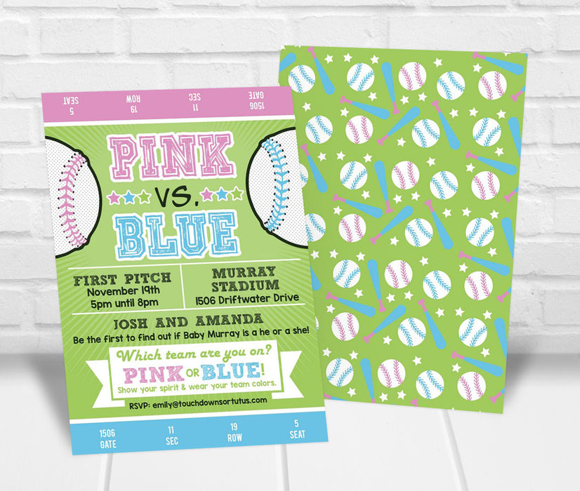 Pink vs. Blue Baseball Gender Reveal Party Invitation - The Party Stork