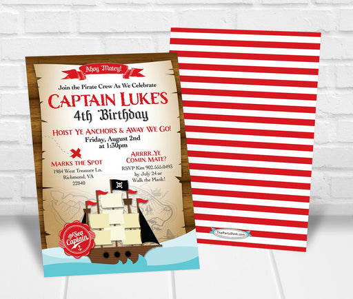 Boy Pirate Birthday Party Invitation - The Party Stork