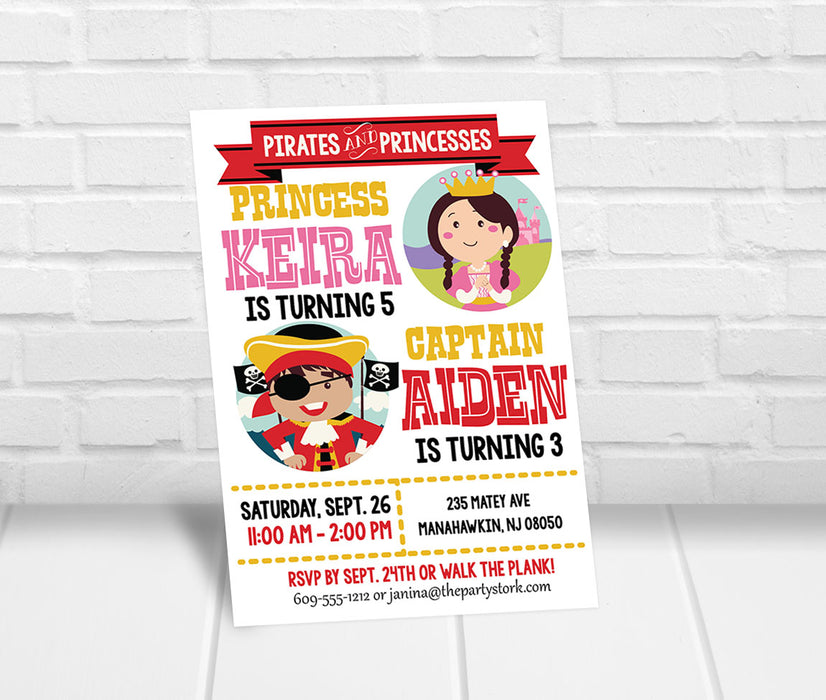 Pirate and Princess Party Invitation - The Party Stork