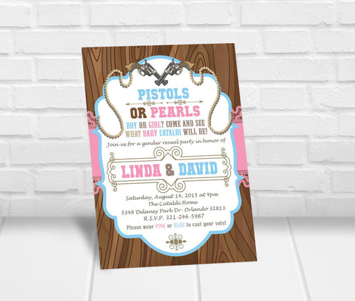 Pistols or Pearls Gender Reveal Party Invitation - The Party Stork