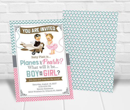 Planes or Pearls Gender Reveal Party Invitation
