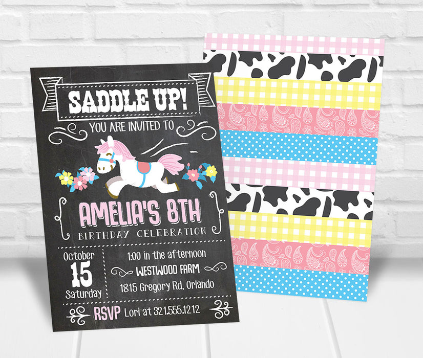 Pony Horseback Riding Birthday Party Invitation - The Party Stork