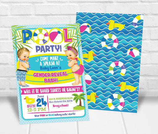 Pool Party Gender Reveal Party Invitation - The Party Stork