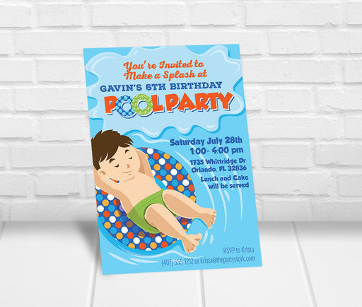 Pool Party Invitation Boys