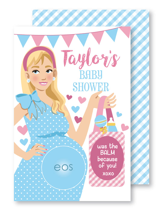 Baby Bump Baby Shower Lip Balm Favor Card - The Party Stork