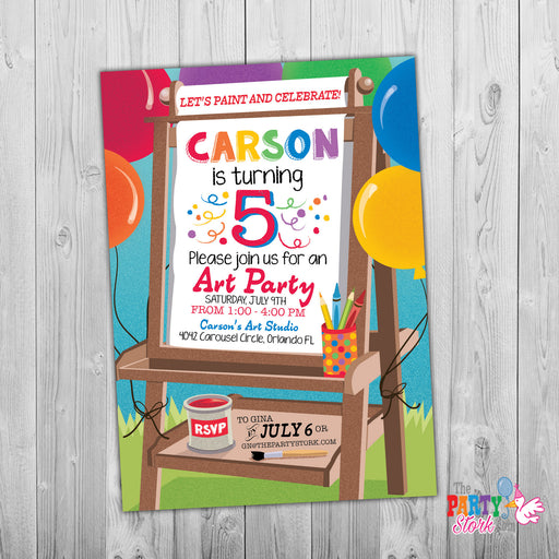 Art Birthday Party Invitation - The Party Stork