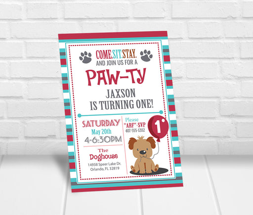 Puppy Party Invitation - The Party Stork