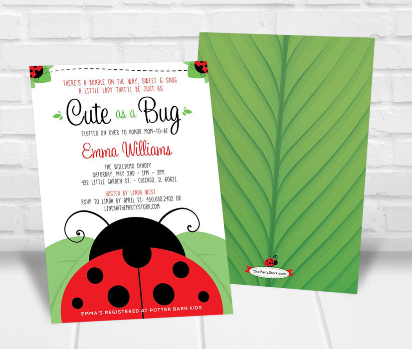 Red Ladybug Baby Shower Invitation - The Party Stork