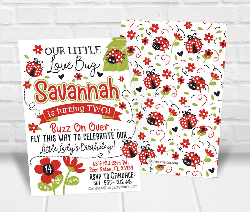 Red Ladybug Birthday Party Invitation - The Party Stork