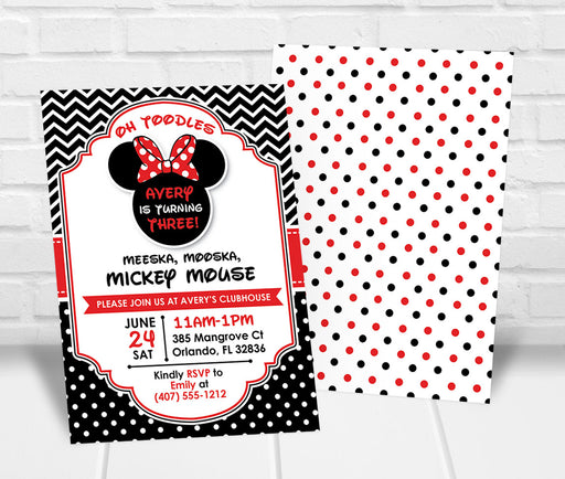 Red Minnie Mouse Inspired Birthday Party Invitation - The Party Stork
