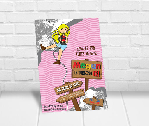 Rock Climbing Birthday Party Invitation Girls
