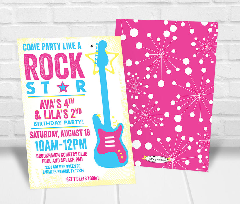 Rockstar Party Invitation - The Party Stork