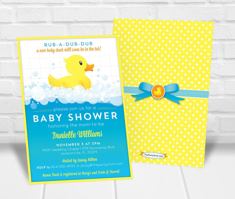 Rubber Duck Baby Shower Invitation - The Party Stork