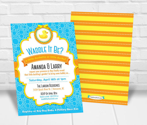 Rubber Duck Gender Reveal Party Invitation - The Party Stork