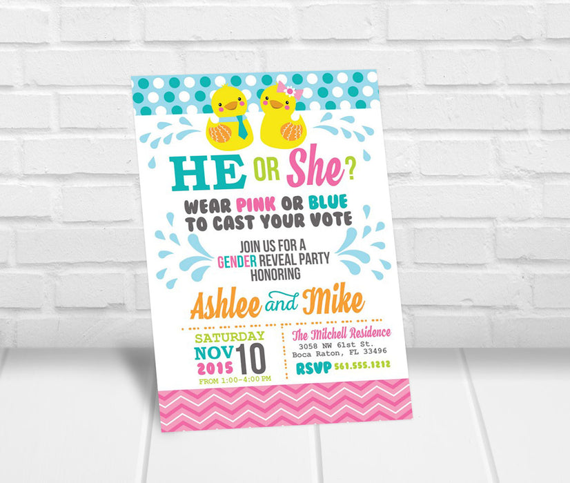 Rubber Ducky Gender Reveal Party Invitation - The Party Stork