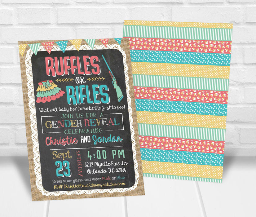 Ruffles or Rifles Gender Reveal Party Invitation - The Party Stork