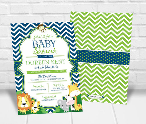 Safari Baby Shower Invitation - The Party Stork