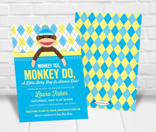 Sock Monkey Baby Shower Invitation Boy - The Party Stork