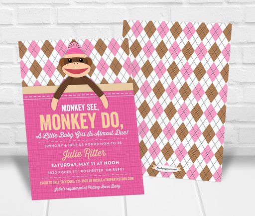 Sock Monkey Baby Shower Invitation Girl - The Party Stork