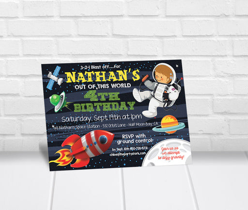 Space Astronaut Birthday Party Invitation - The Party Stork
