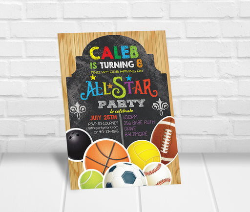 Sports All-Star Birthday Party Invitation - The Party Stork
