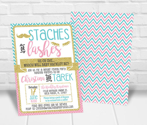 Staches or Lashes Gender Reveal Party Invitation - The Party Stork
