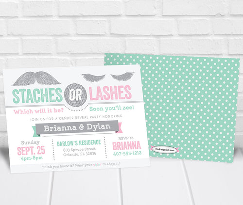 Staches or Lashes Gender Reveal Party Invitation Mint Pink