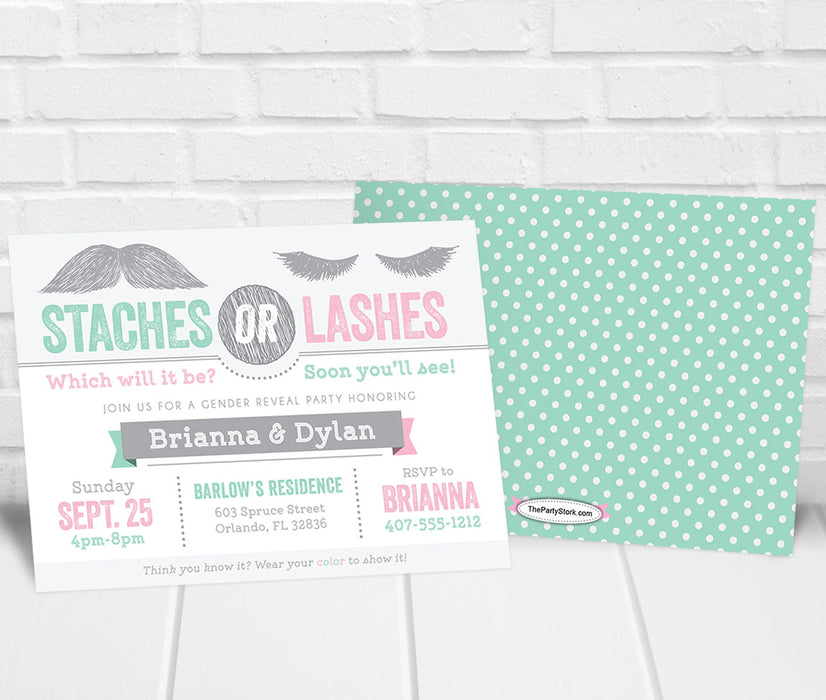 Staches or Lashes Gender Reveal Party Invitation Mint Pink - The Party Stork