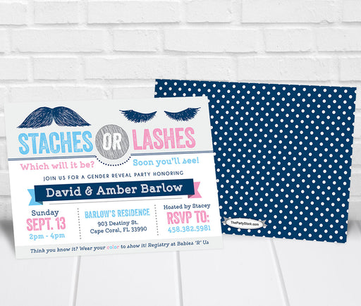 Staches or Lashes Gender Reveal Party Invitation Navy Pink - The Party Stork