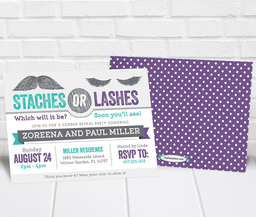 Staches or Lashes Gender Reveal Party Invitation Teal Purple - The Party Stork