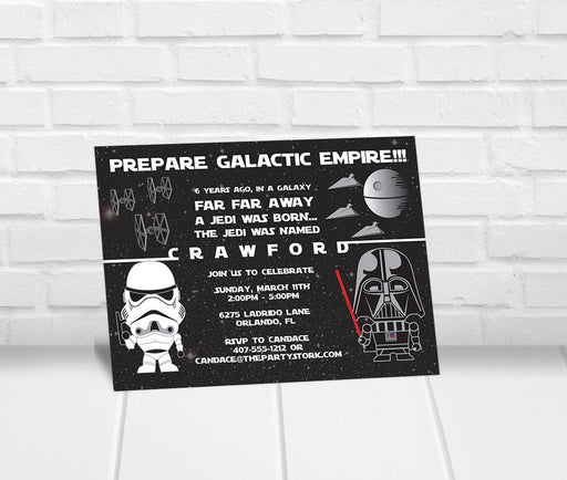 Star Wars Inspired Birthday Party Invitation - The Party Stork
