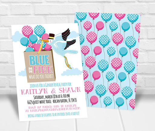 Stork Gender Reveal Party Balloons Invitation - The Party Stork