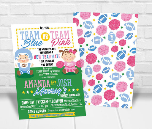 Team Blue or Team Pink Gender Reveal Party Invitation - The Party Stork
