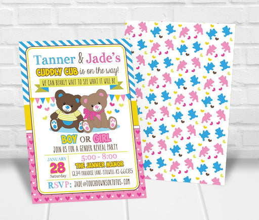 Teddy Bear Gender Reveal Party Invitation - The Party Stork