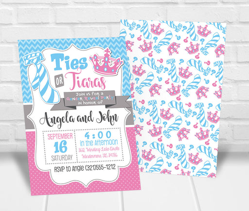 Ties or Tiaras Gender Reveal Party Invitation - The Party Stork